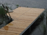 Aluminum Shoreside dock with Cedar Decking and Bench