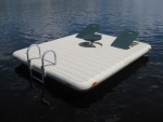 Otter Island Swim Raft - Beige with Green Seats