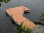 16' Ridgeline Dock with 8' x 8' Patio and 4' Ramp - Woodgrain Aluminum Decking